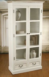 Bookcase Library Provincial White Display Unit Storage Hamptons Shelving Cabinet