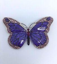 Purple Butterfly Diamante Claro Tono Plata Amatista Cristal Aleación Esmalte Broche