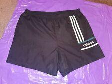 "Men's Adidas Sports Shorts Vtg polyester Football  gym fitness Large 36"" Black2"