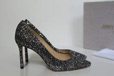 7 / 37 Jimmy Choo Romy Gunmetal Silver Star Coarse Glitter Pointed Toe Pump Shoe