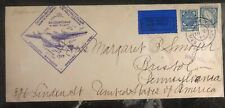 1939 Dublin Ireland First Flight Cover Ffc To Bristol Pa Usa Via New York