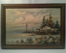 ANTIQUE E.LA FORET COASTAL SEASCAPE OIL ON CANVAS PAINTING