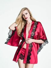MYLA Valentine red SILK Siren short black lace kimono dressing gown robe Size L