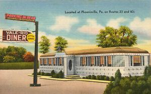 Phoenixville PA The Vale-Rio Diner on Routes 23 & 83 Linen Postcard