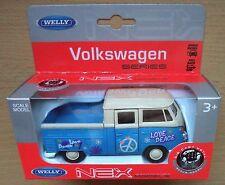 Welly NEX Models VW Pritsche T1 Double Cabin Pick Up Love blau Neu & OVP