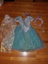 disney world ariel +disney store rapunzel,jasmine costumes+accessories-size 7/8