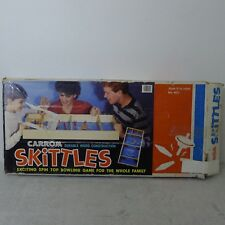 Carrom Skittles Spin Top Game Wood Pins With Box Vintage