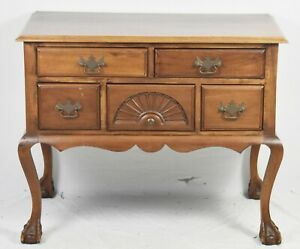 Bench Made Solid Mahogany Chippendale Style Lowboy Dresser Williamsburg Style