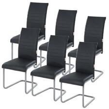 Freischwinger Esszimmerstühle Schwingstuhl Essstühle Kunstleder schwarz 6er Set