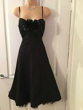 Karen Millen Black Corsage/Feather Detail  Fit & Flare Gown/Dress 14