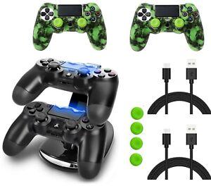 PS4 Ladestation PlayStation 4 + Ladekabel + Silikon Hüllen Controller Thumbstick