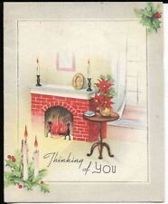 4x5 Christmas card 1940s era, Christmas hearth with poinsettia theme