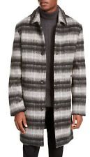 INC Mens Bradley Overcoat Gray Size XL Brushed Wool Striped Button-Down $179 202