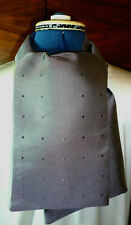 100% woven silk men's cravat/scarf/ascot  Dark grey polka dots on grey  NEW