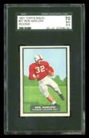 Rare 1951 Topps Magic #37 Bob Marlow Football Rookie RC Card SGC 70 / 5.5 EX +