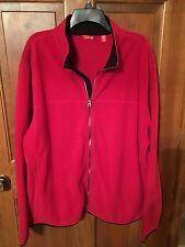 NWT IZOD Mens Polar Fleece XL Jacket Zip Up Ch Red Jacket Black Trim $58 NEW