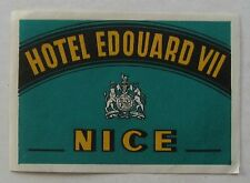 Hotel Luggage Label For Edouard VIII Nice