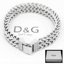 "Cuban Curb Chain Cz Box Bracelet.Box Dg Men's 8.5"" Stainless Steel Silver 12mm"