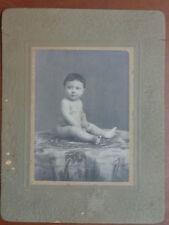 Vecchia foto bambino Studio fotografico CORRADO PALMA NAPOLI 1909 lattante bimbo