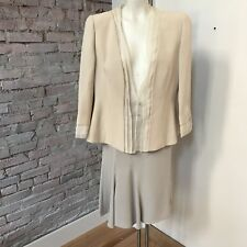 Giorgio Armani Women's Suit A-Line Skirt Collarless Jacket Tan and Gray Silk L