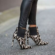BNIB NINE WEST Animal Print Leather Stiletto Ankle Boot |Size 7M| RRP $199.95
