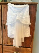 Anthropologie white organic cotton drape skirt s
