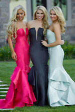 Jovani Strapless Tiered Skirt and Plunging Neckline Prom Dress Sz 00-14 NWT