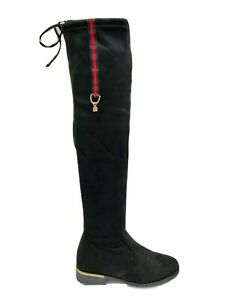 New Womens Faux Suede Over The Knee High Low Block Heel Ladies Riding Boots Size