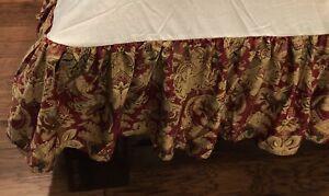 """RALPH LAUREN Jardiniere Red Jacobean King 13""""  Bedskirt Dust Ruffle COTTON USA"""