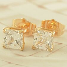 Fashion Yellow Gold Filled Cubic Zirconia Girls small Ear Stud Earrings
