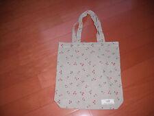 "Jute flax cotton small tote shopping bag khaki/ pink cherry size 12""x13"" new"