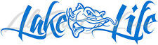 Lake Life Decal with Mean Catfish in the Center Sticker Fishing Fisherman Fish