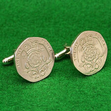 British Coin Cufflinks, Crowned Tudor Rose 20 Pence Heptagon UK England