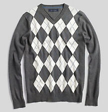 NEW TOMMY HILFIGER MEN'S PACIFIC ARGYLE V-NECK SWEATER