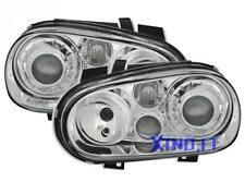 Fari Fanali STILE R32 Style CROMATI Fondo CROMO VW GOLF 4 IV LENTICOLARI VETRO 1