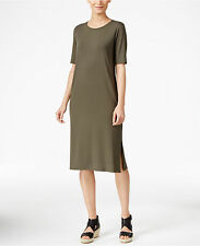 NWT- M- Eileen Fisher Orega Round Neck Midi T-Shirt Dress $198 New
