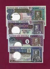 Portugal Angola SET 50 + 100 + 500 + 1000 ESCUDOS 1973 AU-UNC