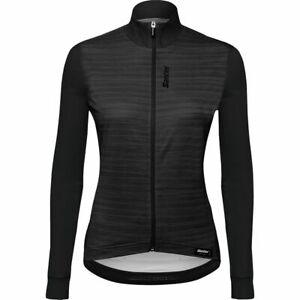 Women's Scia Long Sleeve Cycling Jersey in Black by Santini