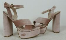 River Island Baby Pink Crushed Velvet Strappy Platform High Heels Size 4 Chunky