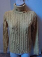 SUTTON STUDIO 100% Cashmere Turtleneck Cable Knit Sweater Yellow Sz Small