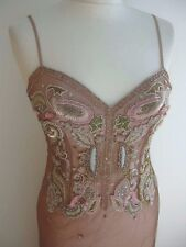 LA PERLA PINK DUSTY ROSE BLUSH TONES BEADED BODICE GOWN SZ. 42 UK 8-10 US 4-6