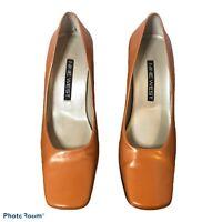 Vintage Nine West Burnt Orange Square Toe Heel Size 5 1/2
