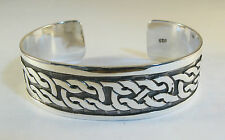 "925 sterling silver cuff bracelet Celtic knot design 3/4"" wide"