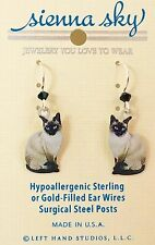 NEW Siamese Dangle Cat Kitten Earrings Sienna Sky USA