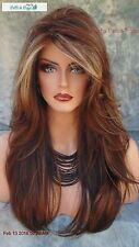 """ANGELICA"" ROP NORIKO WIG COLOR CHOCOLATE SWIRL LONG FLOWING WAVES SEXY CUTE 508"