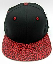 Black Blank Snapback Cap Hat Red Faux Leopard Print Visor Streetwear Caps Hats