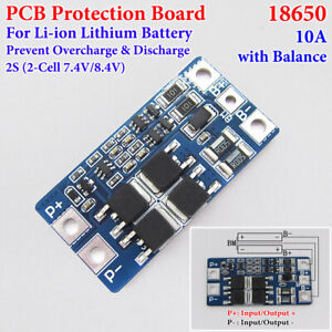 2S 10A w/Balance Li-ion Lithium 18650 7.4V 8.4V Battery BMS Protection PCB Board