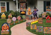 Fun 18 Pc Trick Or Treat Land Banner Door Sign Halloween Yard Decoration Set