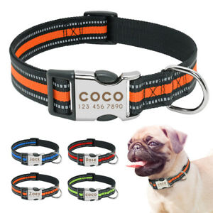 Nylon Dog Collar Personalised Engraved ID Nameplate Reflective Adjustable S M L