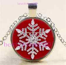 Christmas Snowflake Cabochon Glass Tibet Silver Chain Pendant Necklace